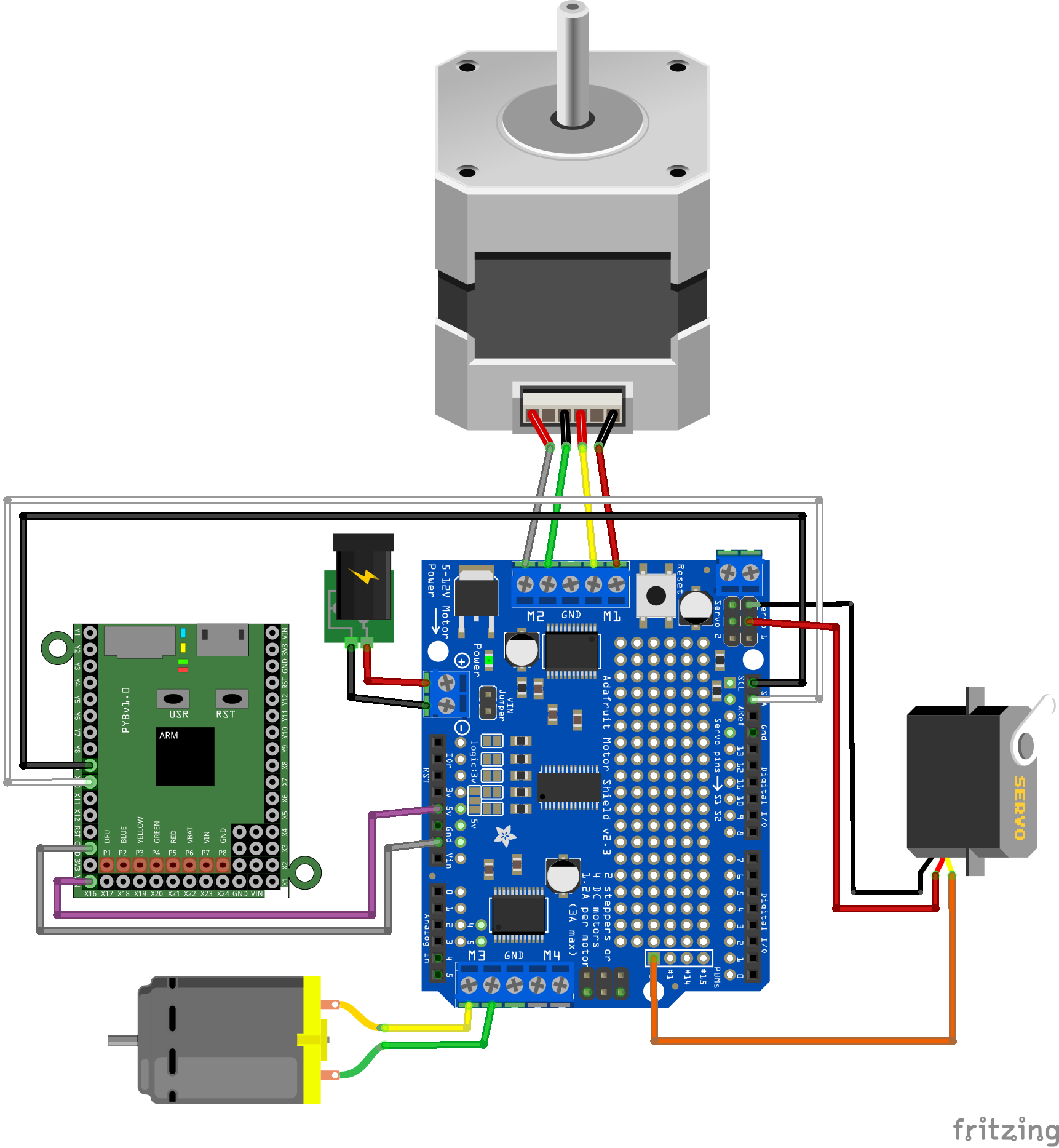 With small motors, you can use the 5V power supply of the pyboard by installing the VIN jumper on the shield and ...